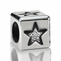 5.6mm Sterling Silver Alphabet Beads 5 Point Star