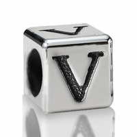 5.6mm Sterling Silver Alphabet Beads Letter V