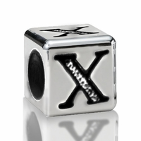 5.6mm Sterling Silver Alphabet Beads Letter X