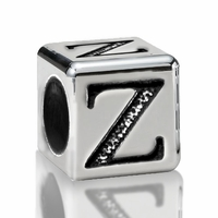 5.6mm Sterling Silver Alphabet Beads Letter Z