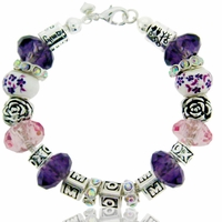 MOM Purple Floral Bracelet  Beadable Bracelet Design Idea