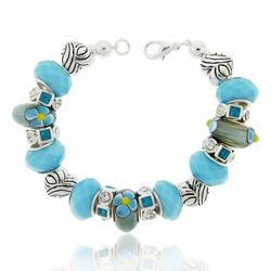 Charming Blue Flowers Large Hole Beaded Bracelet Design Idea