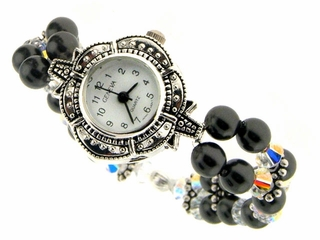 Swarovski Crystal and Onyx Watch