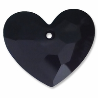 28mm Jet Swarovski Crystal Truly in Love Heart
