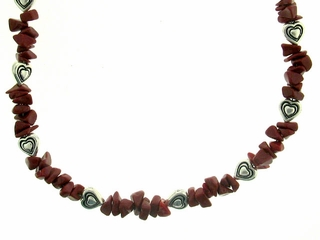 Coral with Heart Necklace