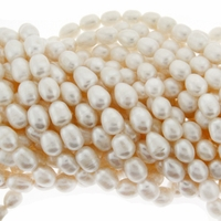 White Freshwater Rice Pearls 7-9mm Bead Strand