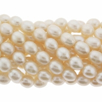 White Rice Oval Freshwater Pearl 8-9mm Bead Strand