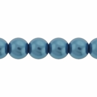 Pearls Imitation Blue 6mm Round Beads (100PK)