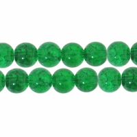 8mm Crackle Glass Green Beads (50PK)