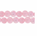 8mm Crackle Glass Lt. Pink Beads (50PK)