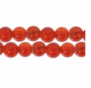 8mm Crackle Glass Amber Beads (50PK)