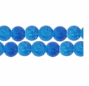 8mm Crackle Glass Blue Beads (50PK)
