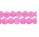 8mm Crackle Glass Pink Beads (50PK)