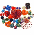 Millefiori Mixed Style & Size Glass Beads (50G)