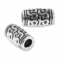Antiqued Silver 12x7mm Large Hole Barrel Bead (1PC)