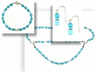 Blue Eyes Crystal Necklace Bracelet and Earrings Set