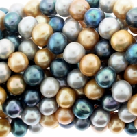 Multi-Color Gold, Silver, Peacock 8-9mm Pearl Bead Strand