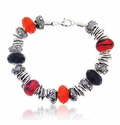 Metal and Fire Large Hole Beaded Bracelet Design Idea