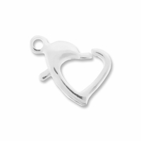 Silver Plated 14mm Floating Heart Lobster (5PK)