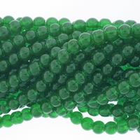 6mm Green Jade Round Glass Beads 16 inch Strand