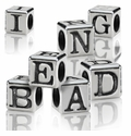 Silver Finish Pewter 4.5mm Block Alphabet Beads
