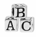 Silver Finish Pewter 5.5mm Block Alphabet Beads