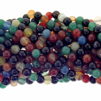8mm Mixed Faceted Agate Beads 16 Inch Strand