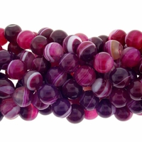 10mm Rose Stripe Agate Beads 16 Inch Strand