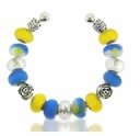 Blue and Yellow Floral Large Hole Beadable Bracelet