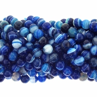 8mm Blue Stripe Agate Beads 16 Inch Strand
