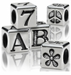 Alphabet Beads Silver, Pewter  & Glass