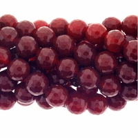 10mm Red Faceted Agate Beads 16 Inch Strand