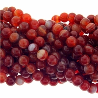8mm Natural Red Stripe Agate Beads 16 Inch Strand