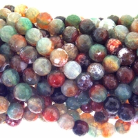 10mm Natural Malachite Faceted Agate Beads 16 Inch Strand