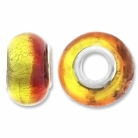 MIOVI™ Lampwork Large Hole Beads w/SP Grommets 14x9mm Silver Foil Amber/Yellow Design (6PK)