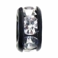 6mm Crystal Rhinestone Black Finish Rhinestone Rondelles (10PK)