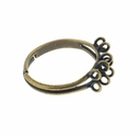 Antiqued Brass 17mm Adjustable Ring (1PC)