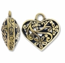 Antiqued Brass 20mm Filigree Heart Pendant (1PC)