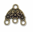 Antiqued Brass 3 to 1 Flower Link (10PK)