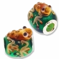 MIOVI™ Lampwork Large Hole Beads w/SP Grommets 14x18mm Green/Beige Frog Design (1PC))
