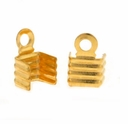 4mm Gold Plated Fold Over Cord End (10PK)
