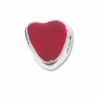 MIOVI� Silver Plated Red Enamel Heart LH  Bead (1PC)
