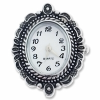 Antiqued Silver Fancy Oval Watch Face (1PC)