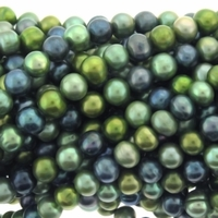 Multicolor Green Navy Potato Freshwater Pearl 8-10mm Bead Strand
