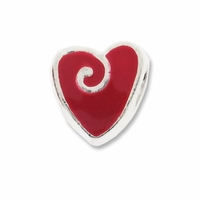 MIOVI� Silver Plated Red Enamel Swirl Heart LH  Bead (1PC)