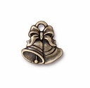 Brass Oxide Silver Christmas Bells  Charm