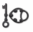 Black Finish Lock & Key Toggle Clasp