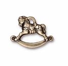 Brass Oxide Silver Rocking Horse  Charm
