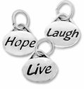 Silver Finish Pewter Message Charms