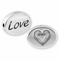 Silver Finish Pewter Message Beads